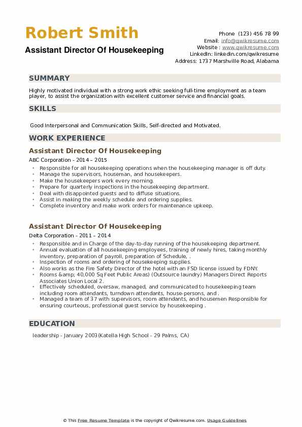 Assistant Director Of Housekeeping Resume example