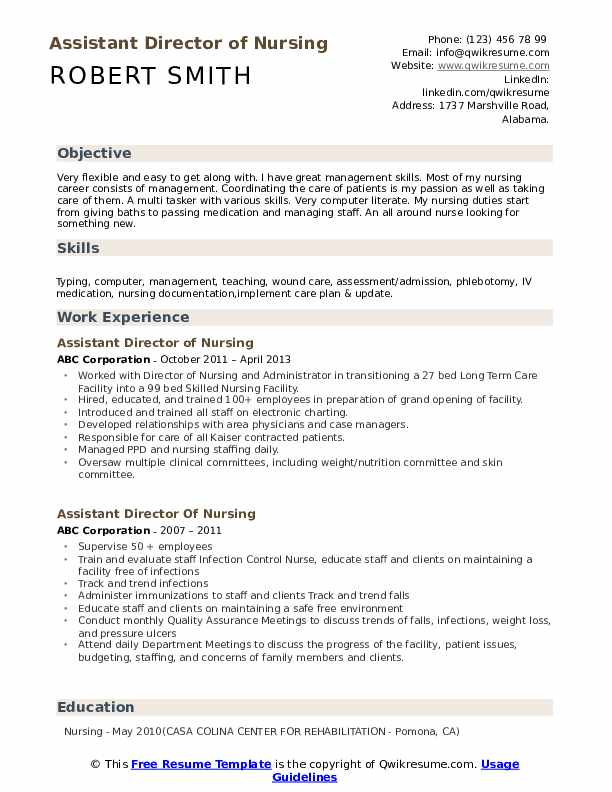 Assistant Director of Nursing Resume Example