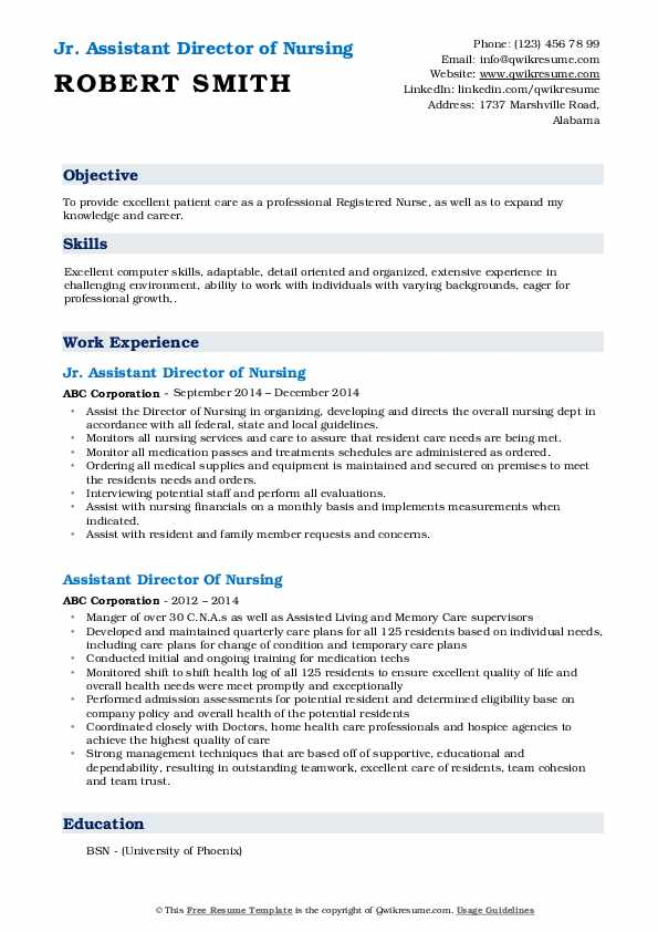 Jr. Assistant Director of Nursing Resume Format