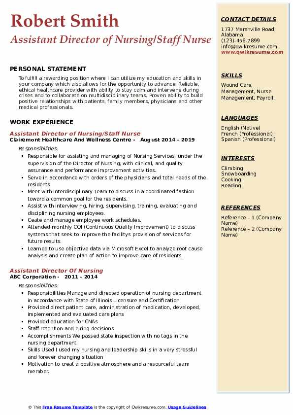 Assistant Director of Nursing/Staff Nurse Resume Example