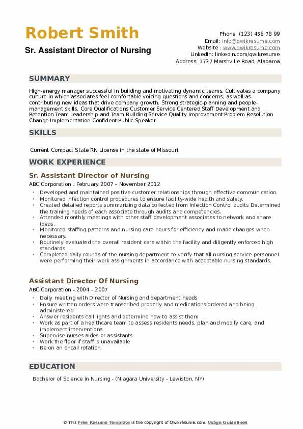 Sr. Assistant Director of Nursing Resume Template