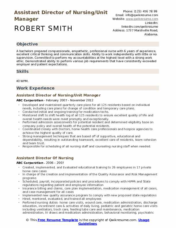 Assistant Director of Nursing/Unit Manager Resume Example
