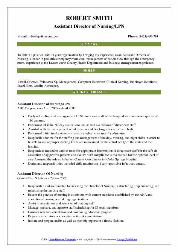 Assistant Director of Nursing/LPN Resume Example