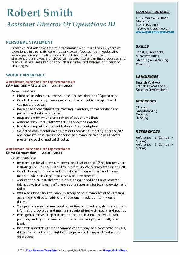 assistant director of operations resume samples