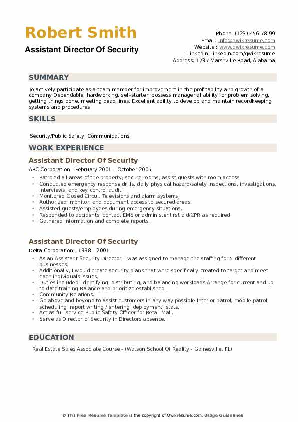 Assistant Director Of Security Resume example