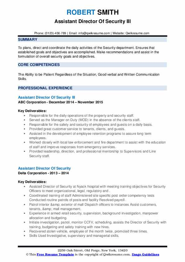 assistant director of security resume samples