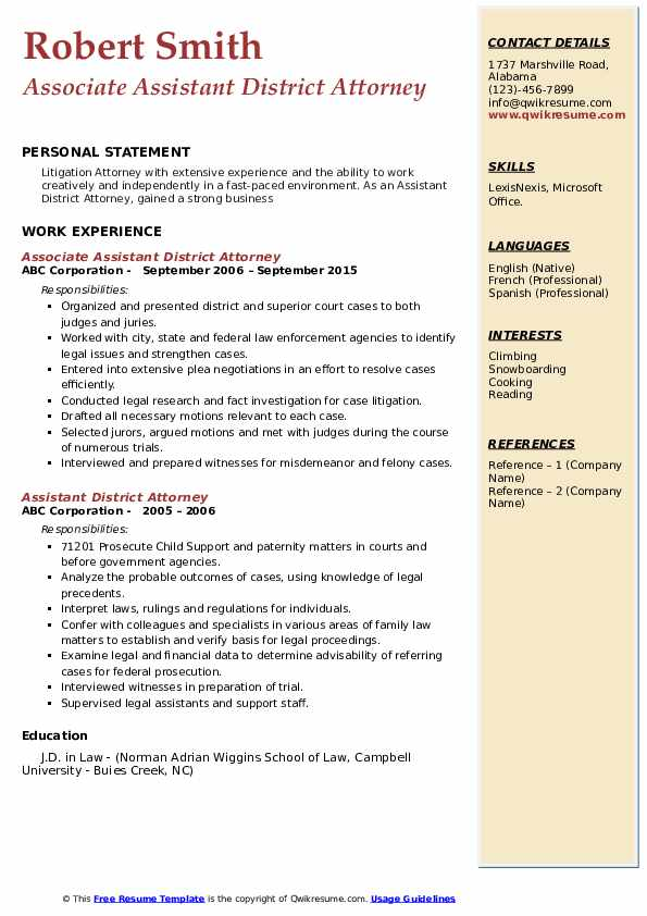 assistant district attorney resume samples  qwikresume