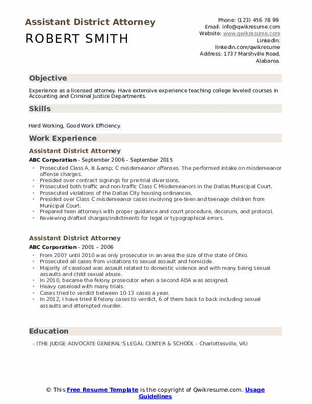 Assistant District Attorney Resume example