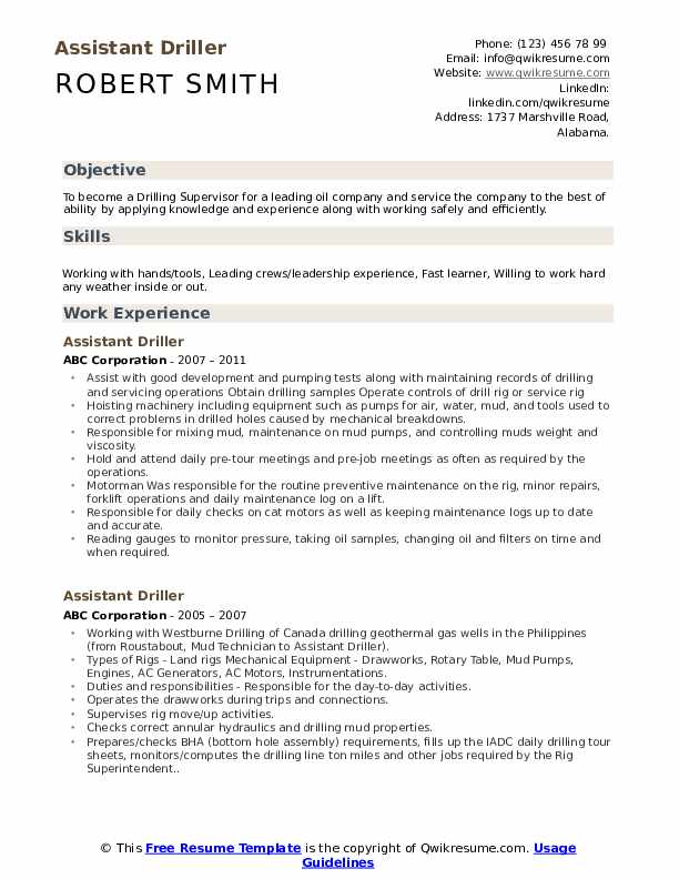 Assistant Driller Resume Template