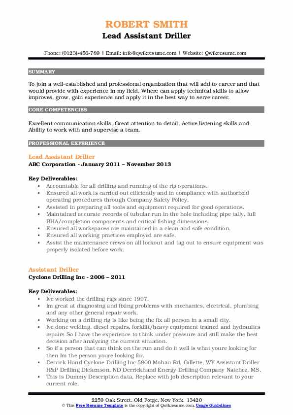 Lead Assistant Driller Resume Example
