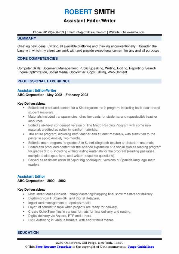 Assistant Editor Resume Samples Qwikresume