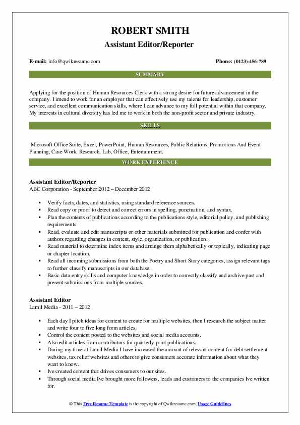 Assistant Editor/Reporter  Resume Example