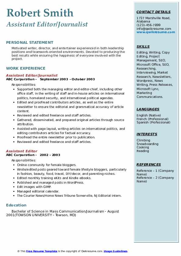Assistant Editor/Journalist Resume Model