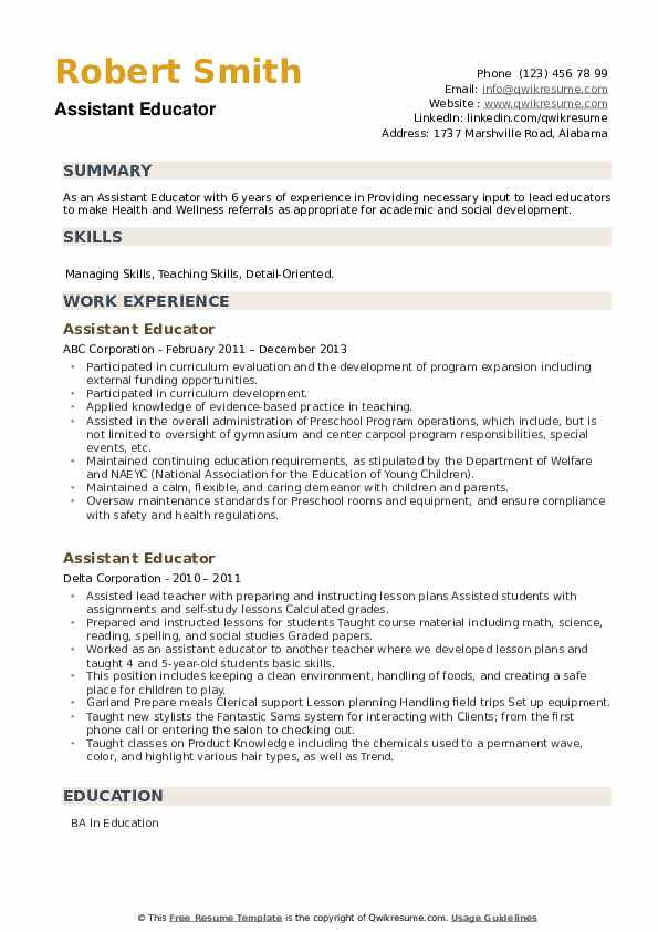 Assistant Educator Resume example