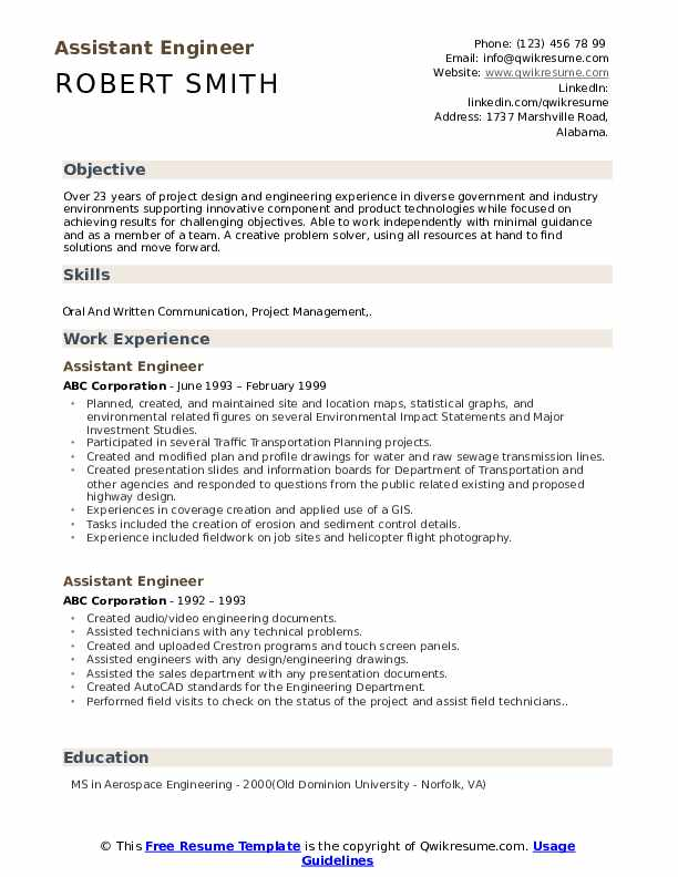 Assistant Engineer Resume Samples Qwikresume