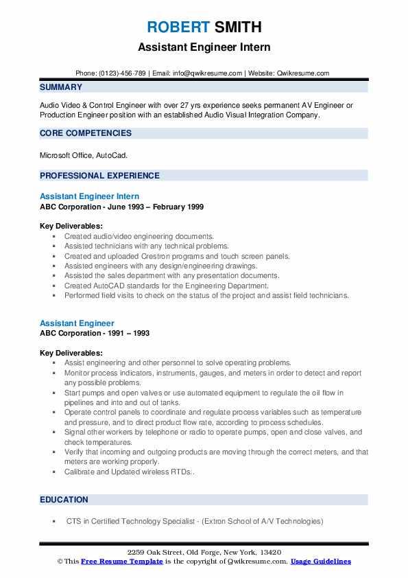 Assistant Engineer Intern Resume Example