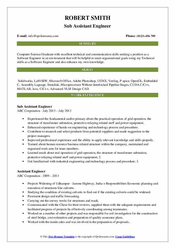 Sub Assistant Engineer Resume Format