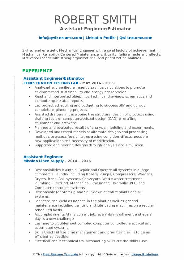 Assistant Engineer/Estimator Resume Format