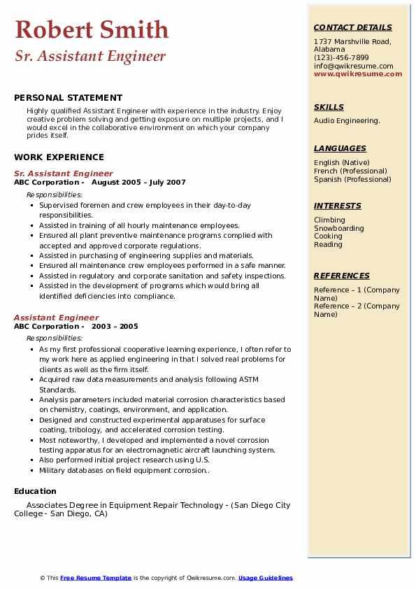 Sr. Assistant Engineer  Resume Format