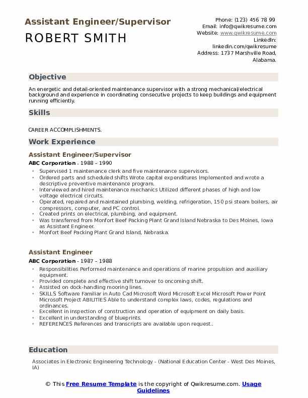 Assistant Engineer/Supervisor Resume Sample