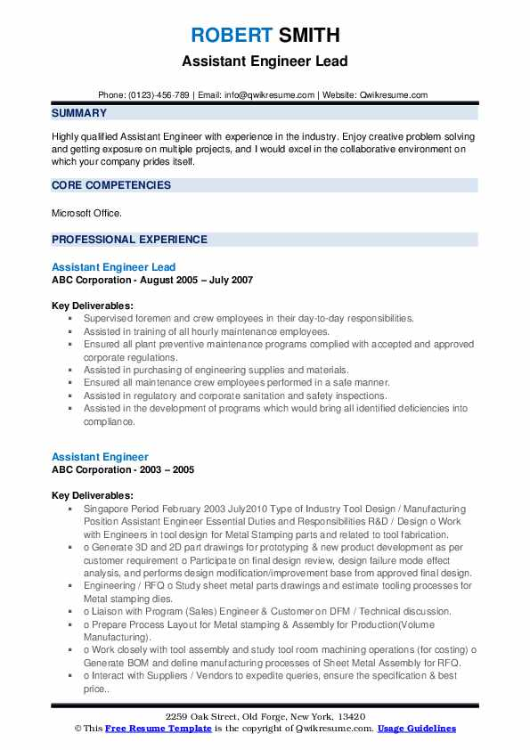 Assistant Engineer Lead Resume Example