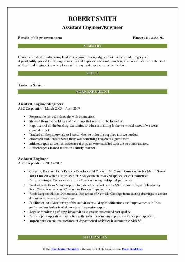 Assistant Engineer/Engineer Resume Example