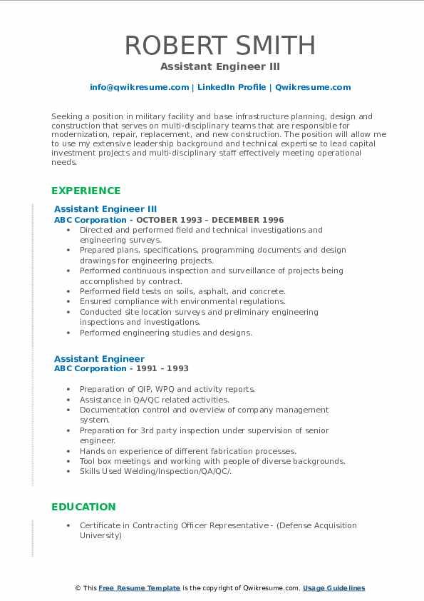 Assistant Engineer III Resume Format
