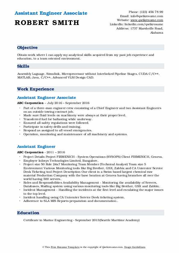 Assistant Engineer Associate Resume Model