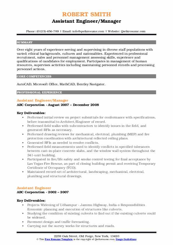 Assistant Engineer/Manager Resume Example