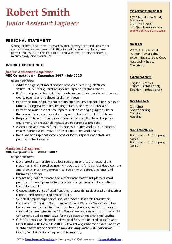 Junior Assistant Engineer Resume Sample
