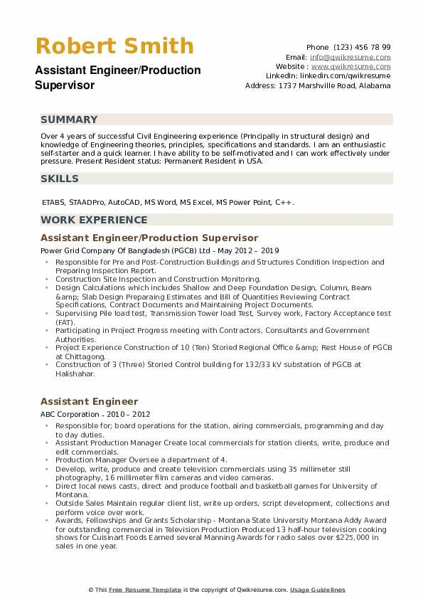 Assistant Engineer/Production Supervisor Resume Format
