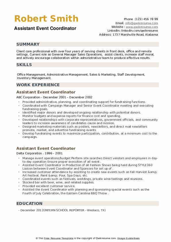 Assistant Event Coordinator Resume example
