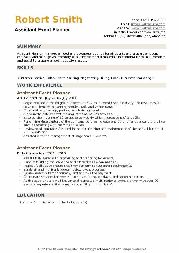 Assistant Event Planner Resume example