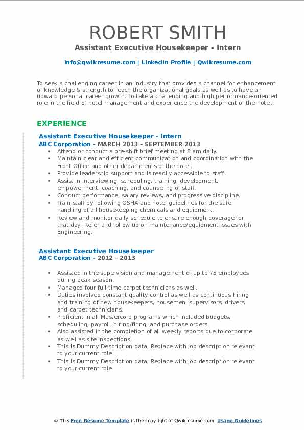 assistant executive housekeeper resume samples
