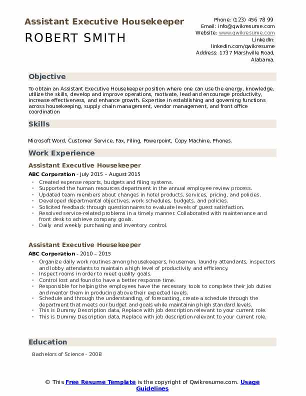 Assistant Executive Housekeeper Resume example