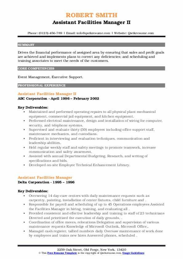 Assistant Facilities Manager Resume example