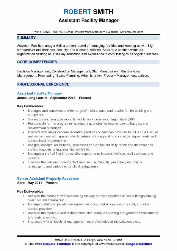Assistant Facility Manager Resume Samples | QwikResume