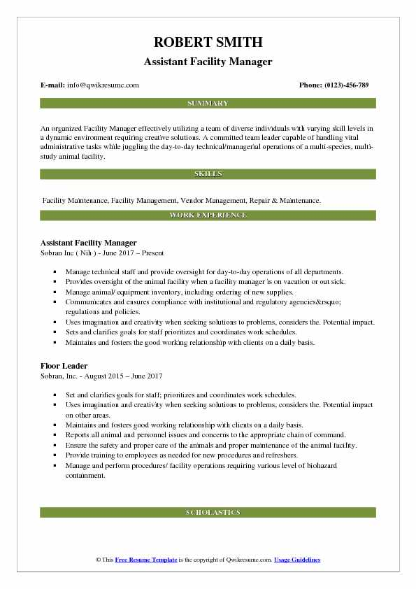Assistant Facility Manager Resume Example