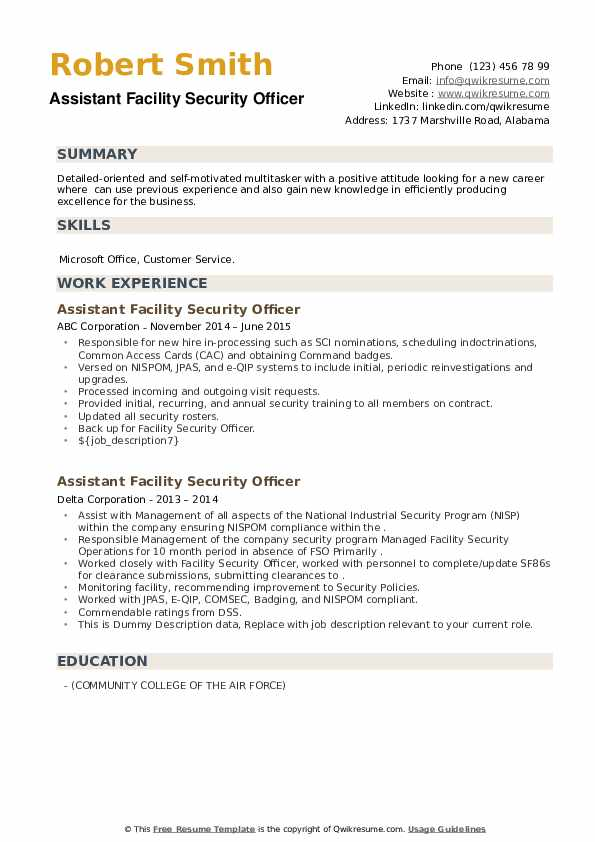 Assistant Facility Security Officer Resume example