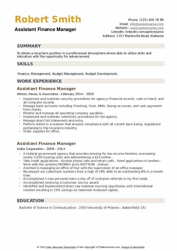 Assistant Finance Manager Resume example