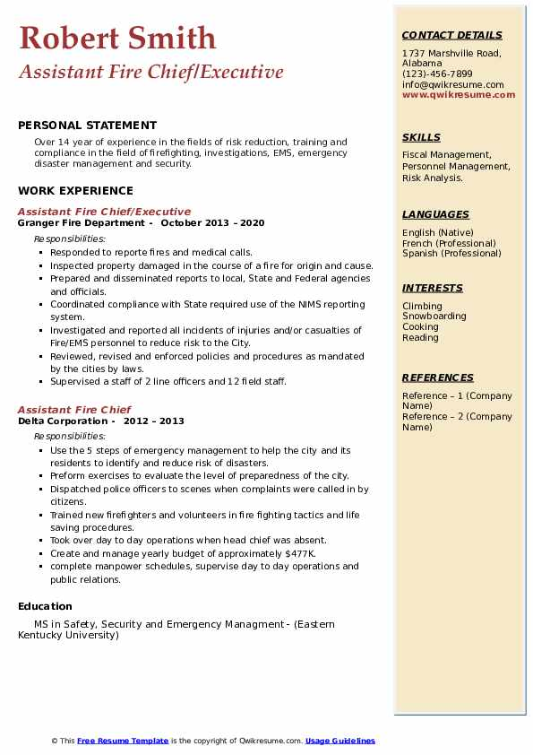 assistant fire chief resume samples  qwikresume