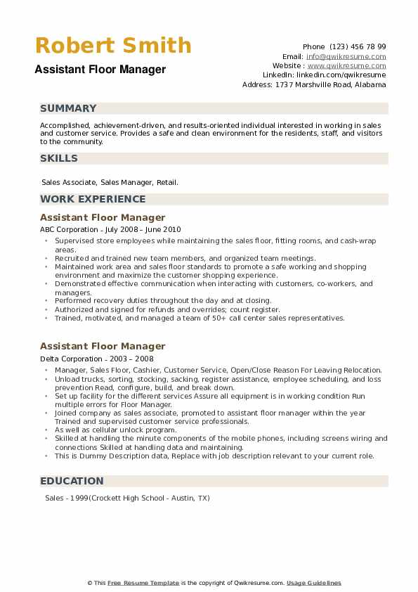 Assistant Floor Manager Resume example
