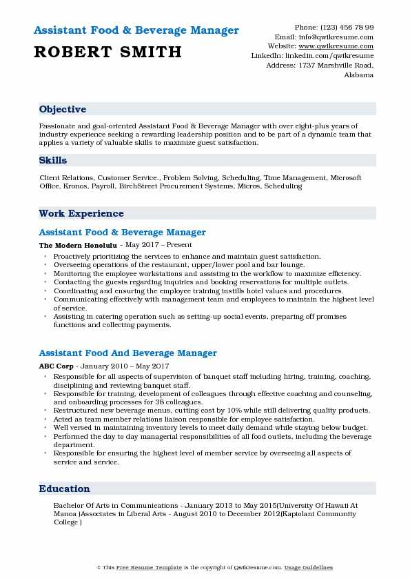 Assistant Food & Beverage Manager Resume Example