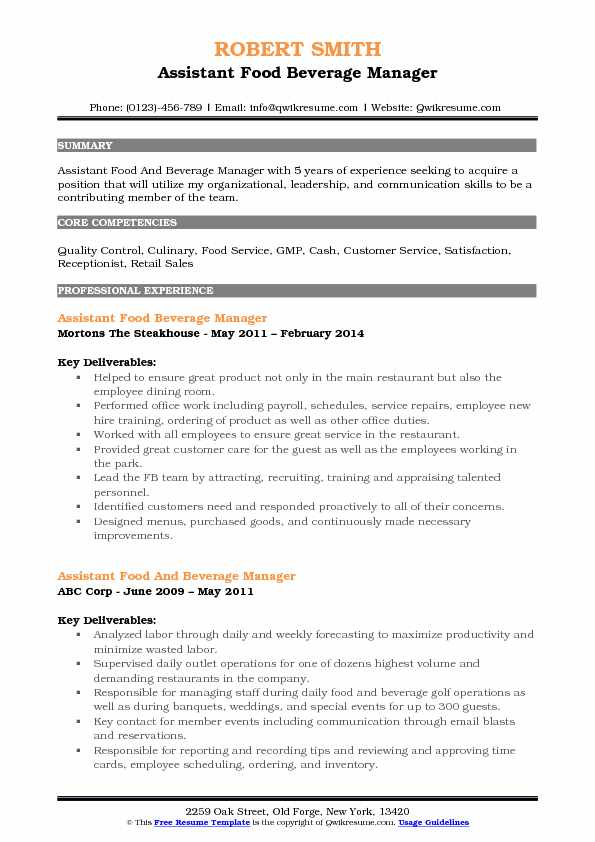 Assistant Food Beverage Manager Resume Example