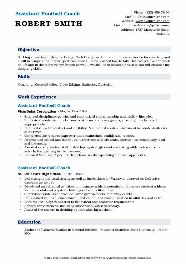 Assistant Football Coach Resume Model