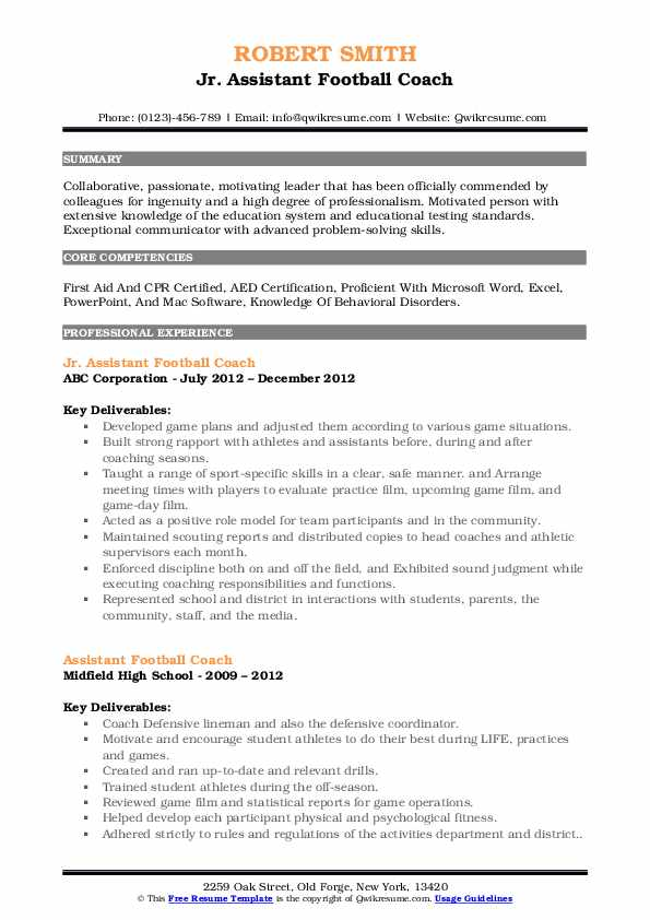assistant football coach resume samples