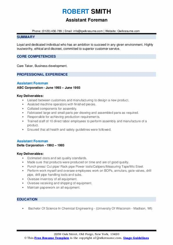 Assistant Foreman Resume Samples Qwikresume