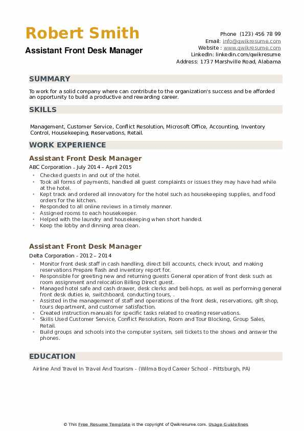 Assistant Front Desk Manager Resume example