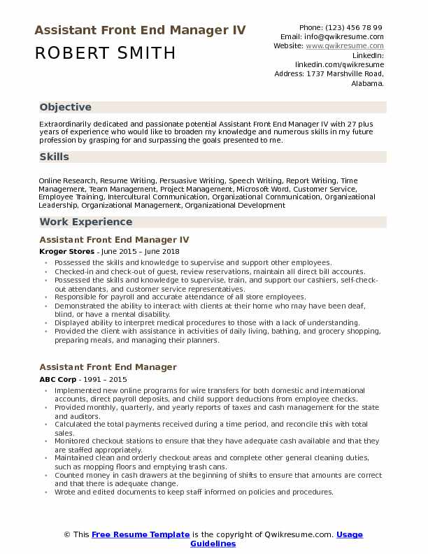 Assistant Front End Manager IV Resume Example