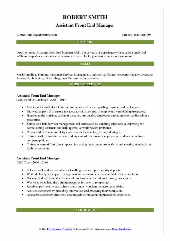 Assistant Front End Manager Resume Example